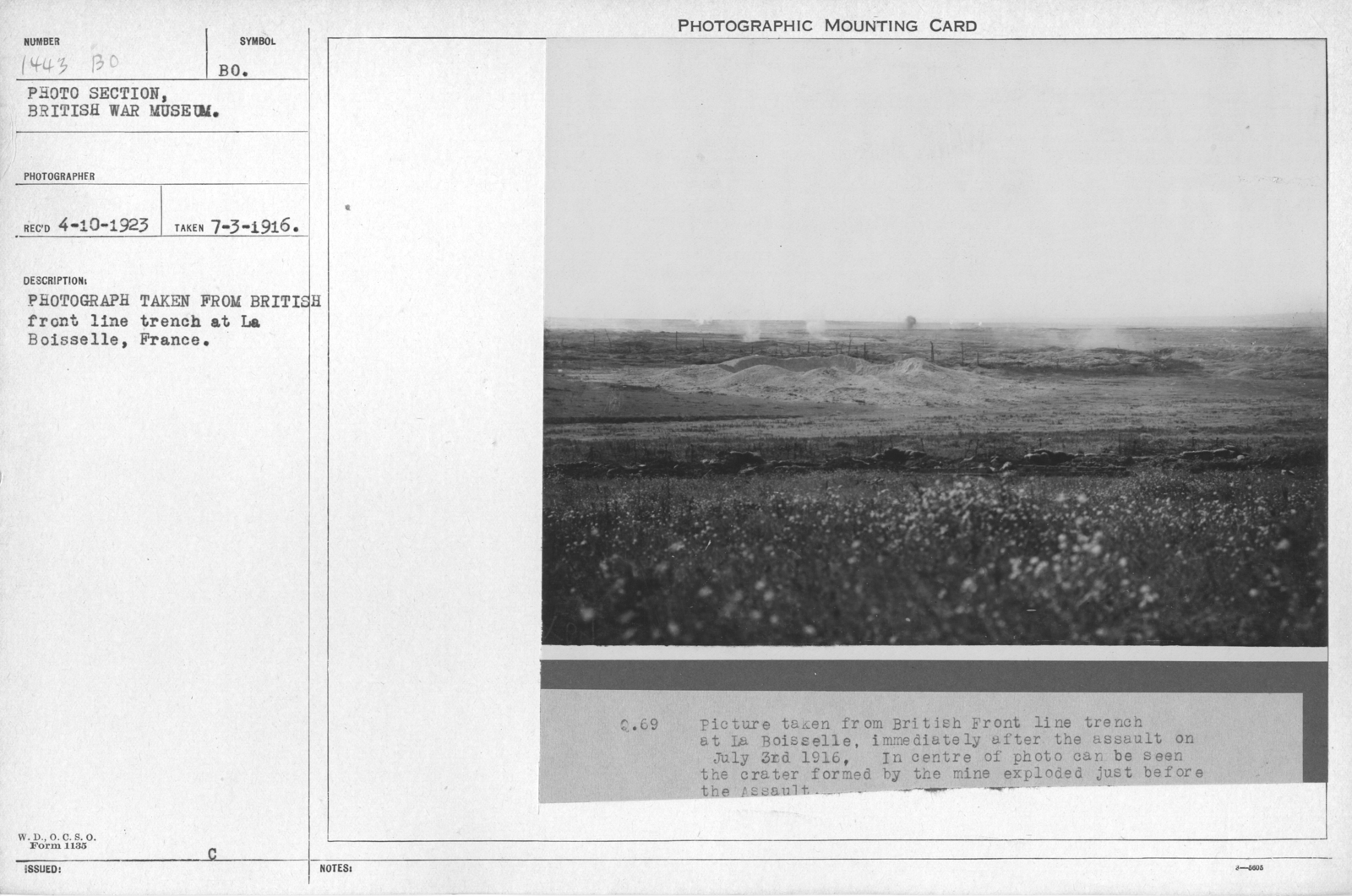 Photograph taken from British front line trenches at La Boisselle, France
