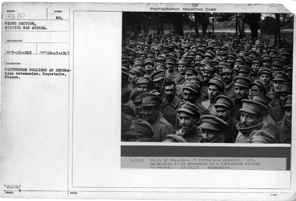 Portuguese soldiers at decoration ceremonies. Roquetaire, France
