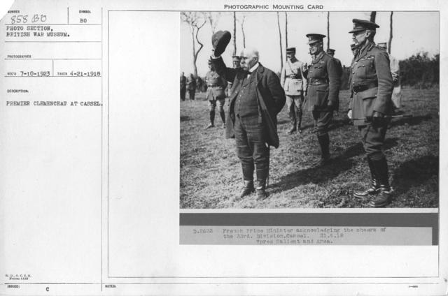 Premier Clemenceau at Cassel. 4-21-1918