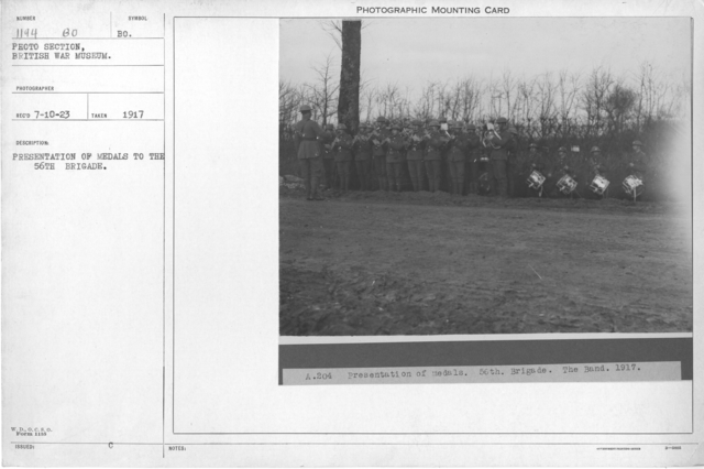 Presentation of medals to the 56th Brigade