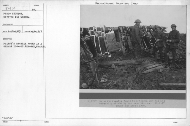 Priest's regalia found in a German dug-out. Peronne, France. 4-19-1917