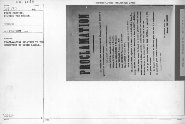 Proclamation relative to the execution of Edith Cavell