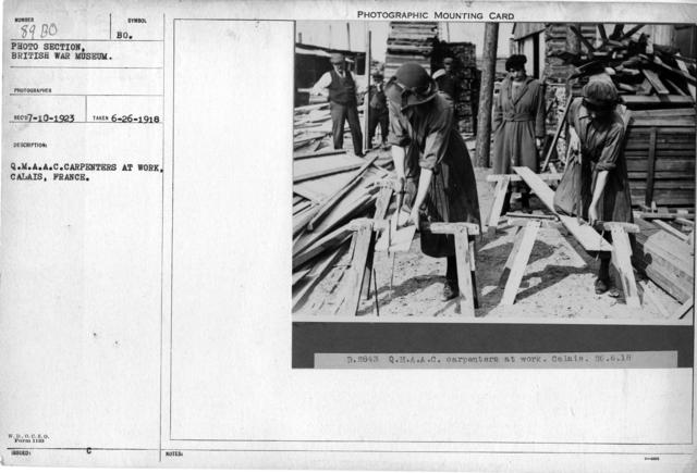 Q.M.A.A.C. Carpenters at work, Calais, France
