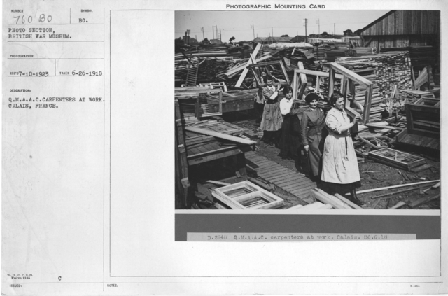 Q.M.A.A.C. Carpenters at work, Callais, France. 6-26-1918