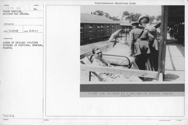 Queen of England visiting wounded in hospital. Etaples, France. 6-6-17