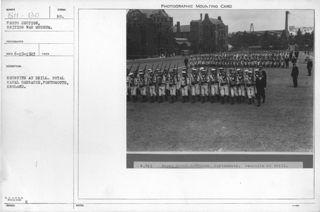 Recruits at drill. Royal Naval barracks, Portsmouth, England
