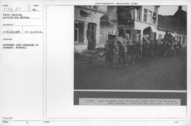 Refugees just released by Germans. Tournai