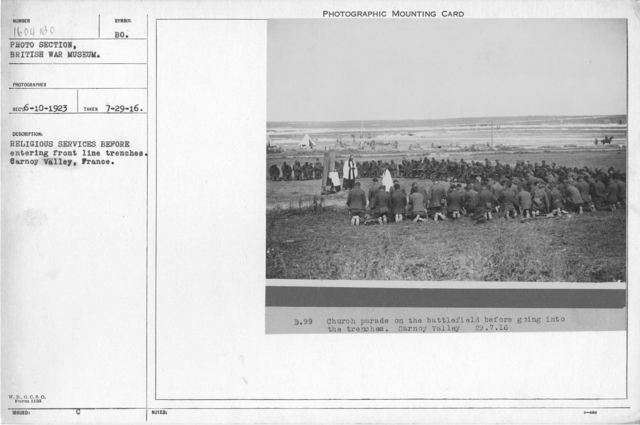 Religious services before entering front line trenches. Carnoy Valley, France. 7-29-1916