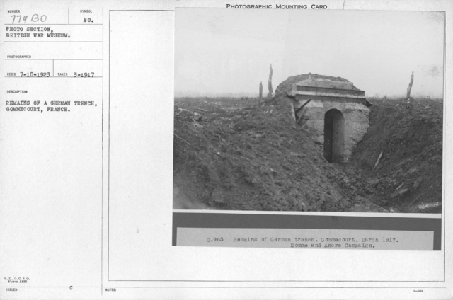 Remains of a German trench, Gommecourt, France. March 1917