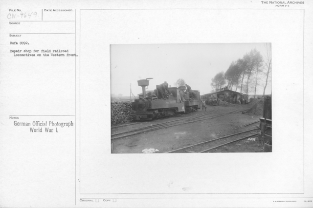 Repair shop for field railroad locomotive on the Western front