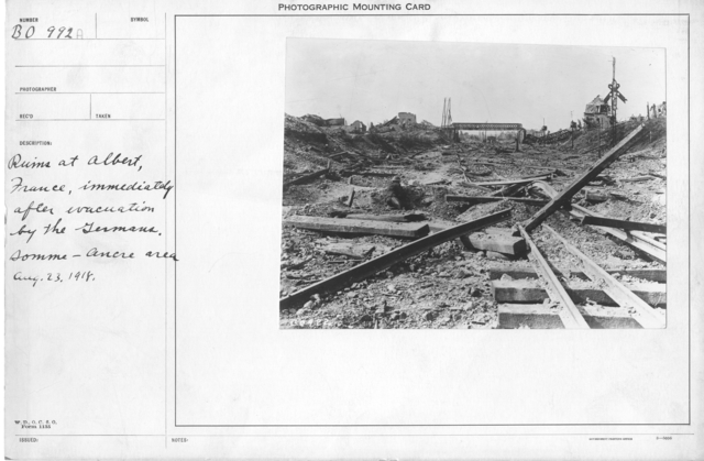 Ruins at Albert immediately after evacuation by the Germans. (Somme & Ancre Area)