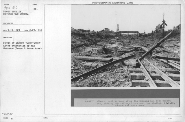Ruins at Albert immediately after evacuation by the Germans. (Somme & Ancre Area) 8-23-1918