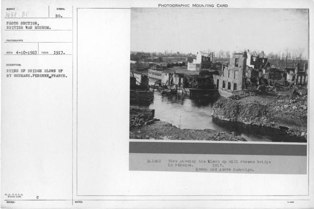 Ruins of bridge blown up by Germans. Peronne. France