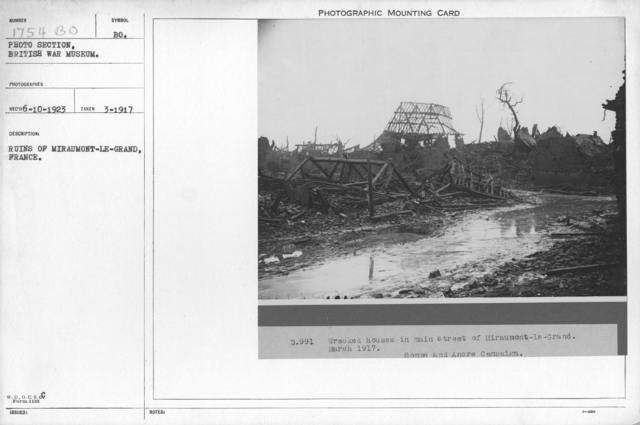 Ruins of Miraumont-le-Grand, France. March 1917