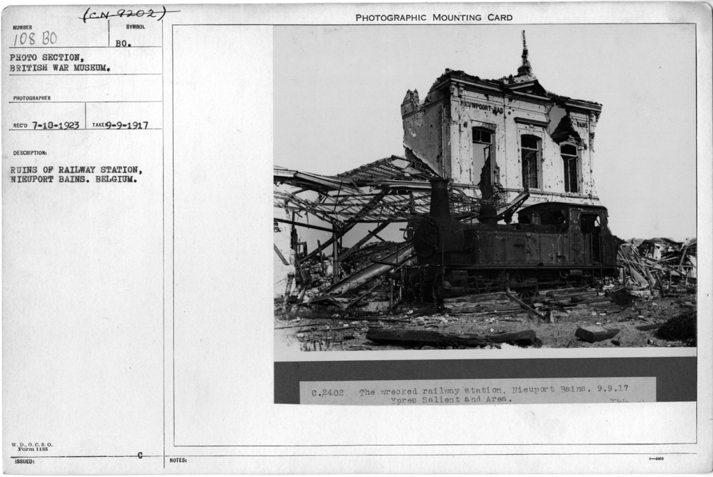 Ruins of railway station, Nieuport Bains. Belgium