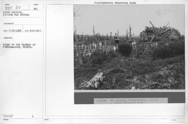 Ruins of the Chateau at Contalmaison, France. 9-2-1917
