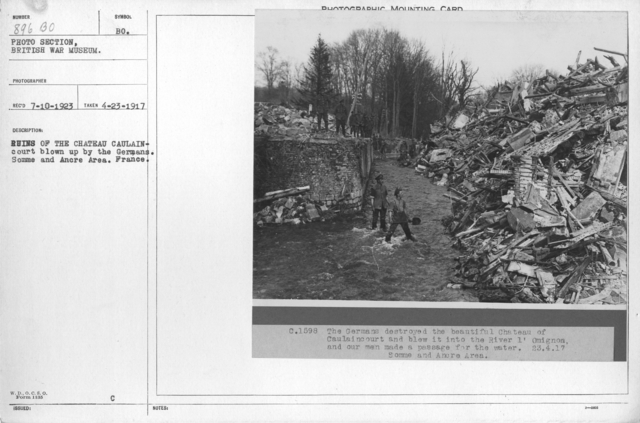 Ruins of the Chateau Caulaincourt blown up by the Germans. Somme and Ancre Area. France. 4-23-1917