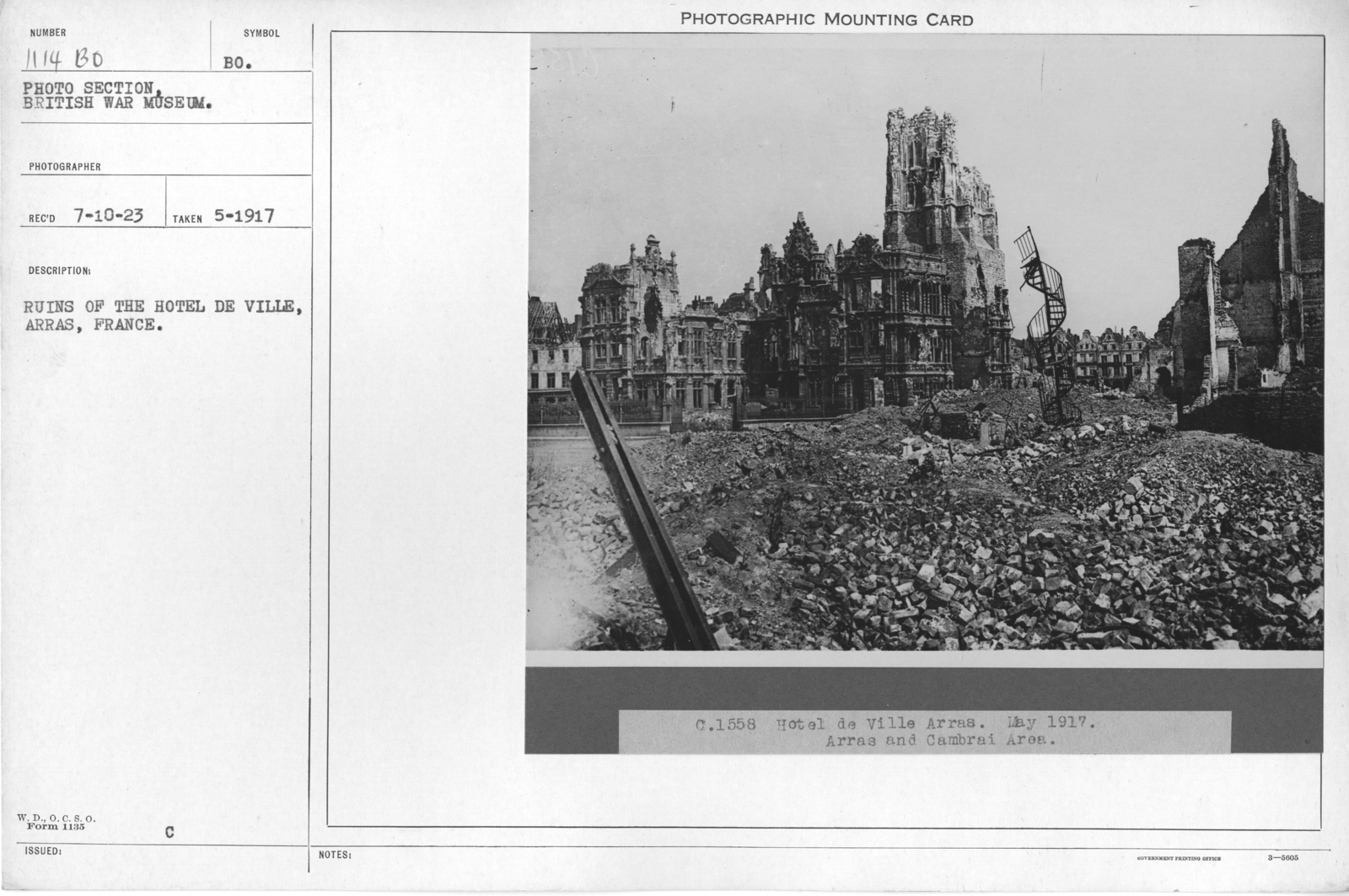 Ruins of the Hotel De Ville, Arras, France