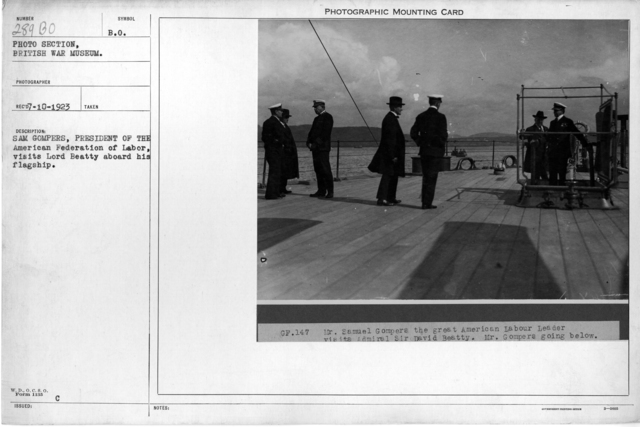Sam Gompers, President of the American Federation of Labor, visits Lord Beatty aboard his flagship