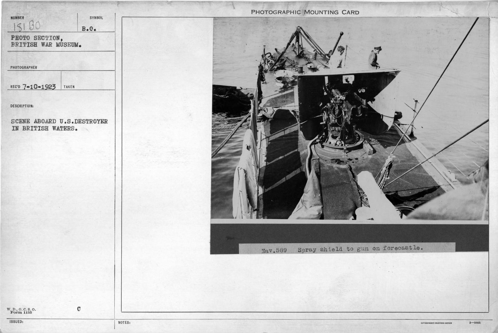 Scene aboard U.S. Destroyer in British waters
