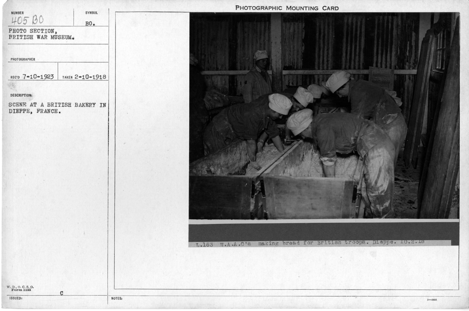 Scene at a British bakery in Dieppe, France; 2/10/1918