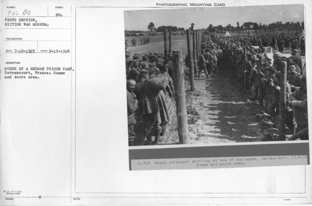 Scene at a German prison camp. Dernancourt, France. Somme and Ancre Area. 9-15-1916