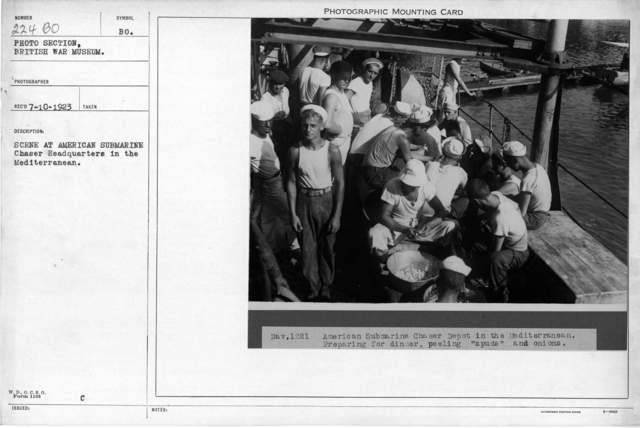 Scene at the American submarine chaser headquaters in the Mediterranean