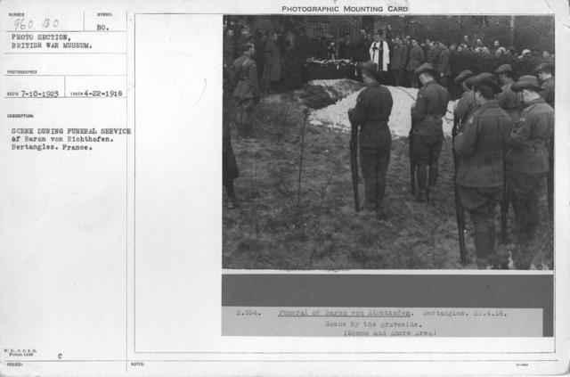 Scene during funeral service of Baron von Richthofen, Bertangles, France. 4-22-1918