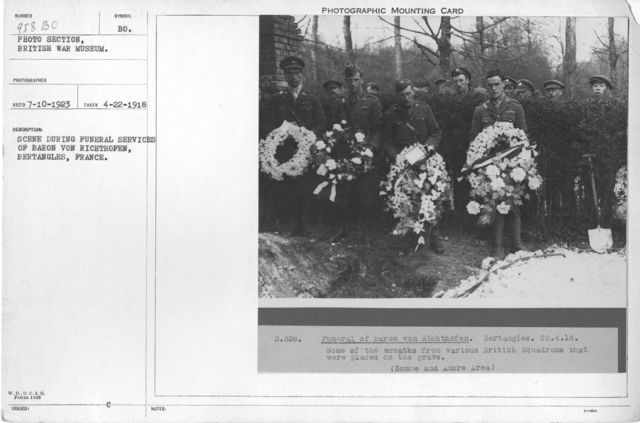 Scene during funeral services of Baron von Richthofen, Bertangles, France. 4-22-1918