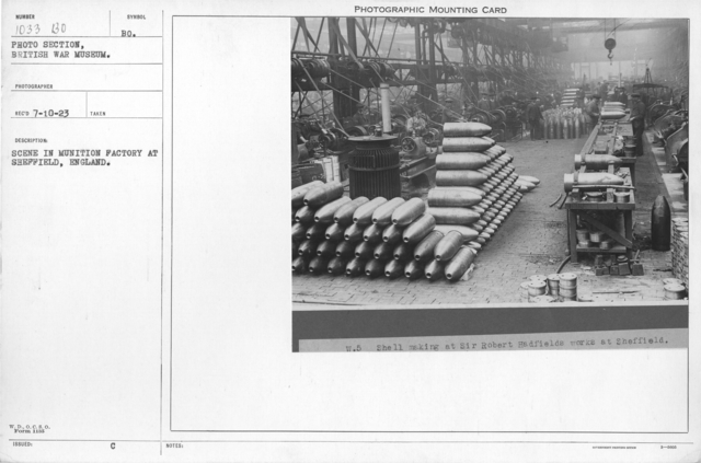 Scene in munition factory at Sheffield, England
