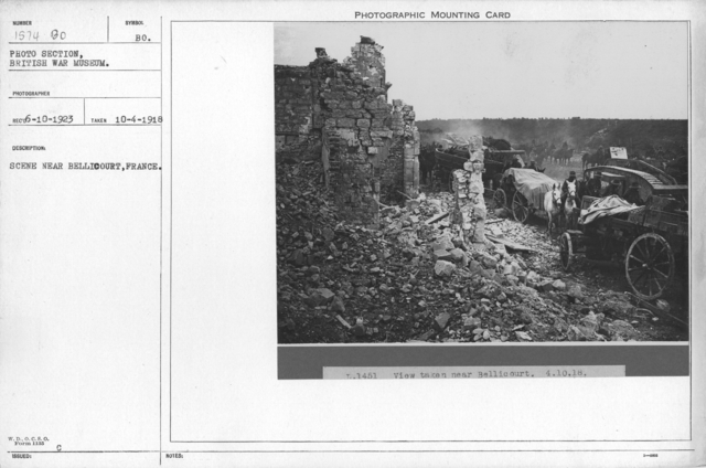 Scene near Bellicourt, France. 10-4-1918