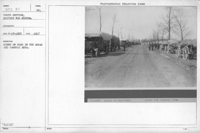Scene on road in the Arras and Cambrai area. 1917