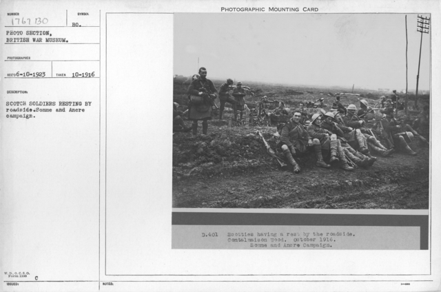 Scotch soldiers resting by roadside. Somme and Ancre Campaign