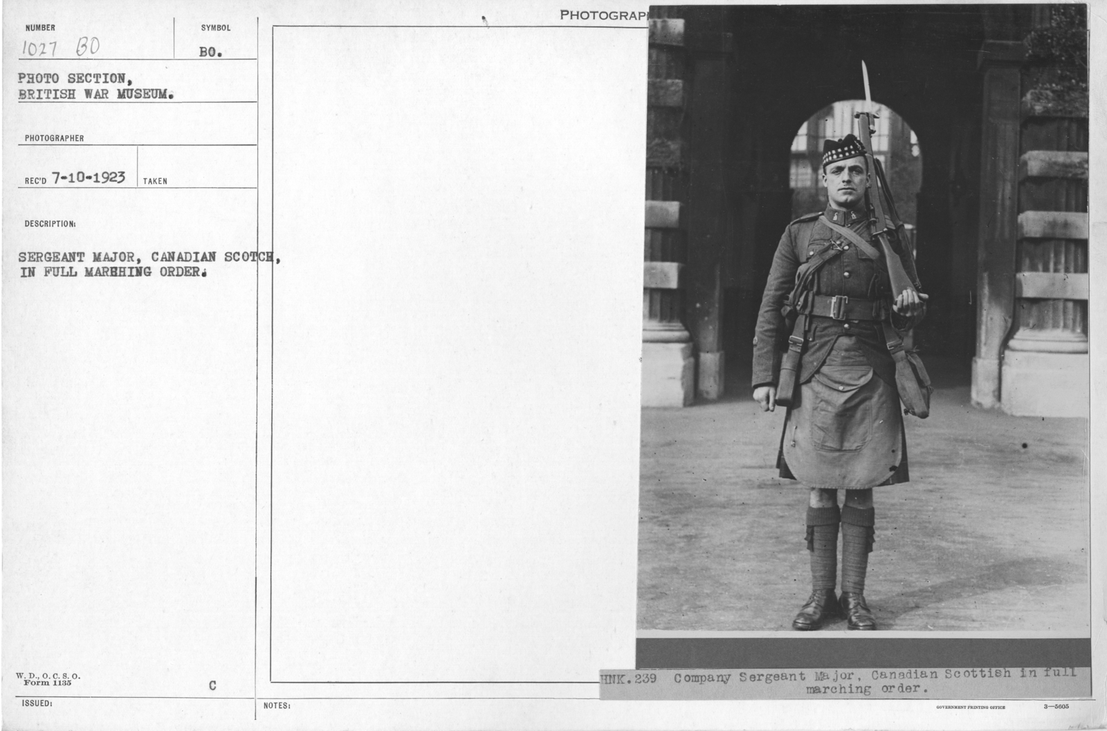 Sergeant Major, Canadian Scotch, in full marching order