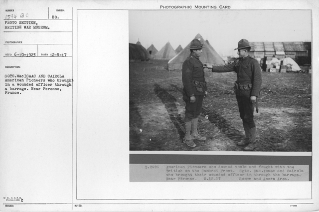 Sgts. MacIsaac and Cairola. American Pioneers who brought in a wounded officer through a barrage. Near Peronne, France. 12-5-1917