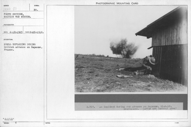 Shell exploding during British advance on Bapaume, France