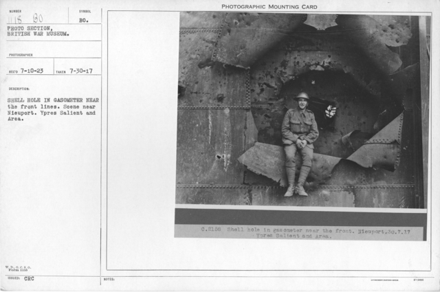 Shell hole in gasometer near front lines. Scene near Nieuport. Ypres Salient and Area