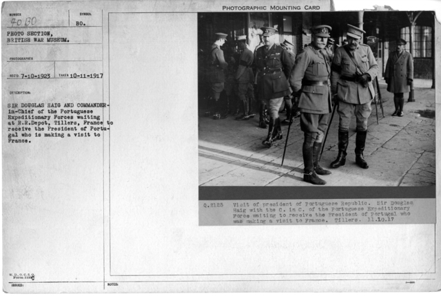 Sir Douglas Haig and Commander-in-Chief of the Portuguese Expeditionary Forces waiting at R.R. Depot, Tillers, France to receive the President of Portugal who is making a visit to France