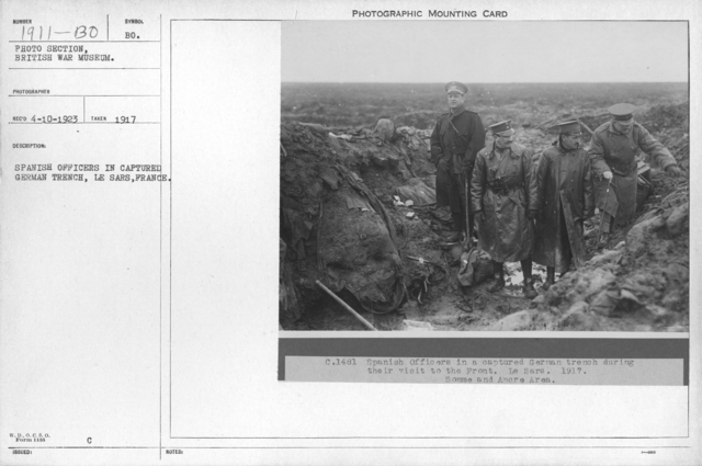 Spanish officers in captured German trench, Le Sars, France