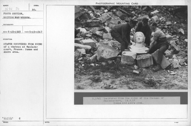 Statue recovered from ruins of a chateau at Caulaincourt, France. Somme and Ancre area. 5-19-1917