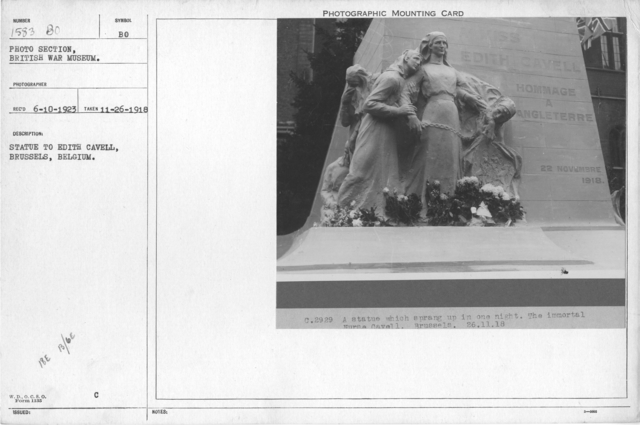 Statue to Edith Cavell, Brussels, Belgium. 11-26-1918