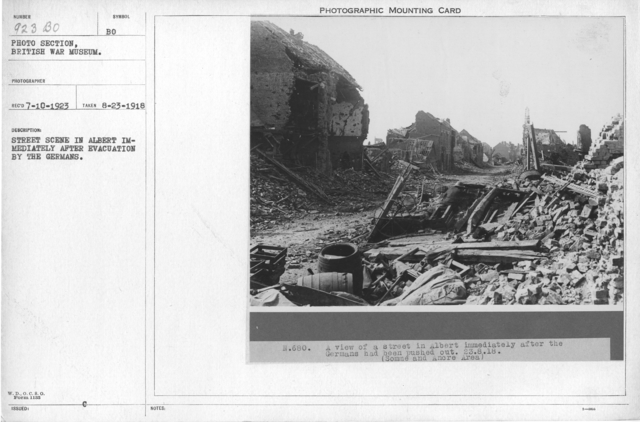 Street scene in Albert immediately after evacuation by the Germans. 8-23-1918