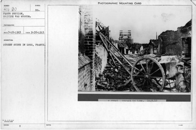 Street scene in Loos, France; 9/30/1915