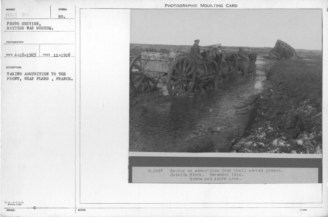 Taking ammunition to the front, near Flers, France