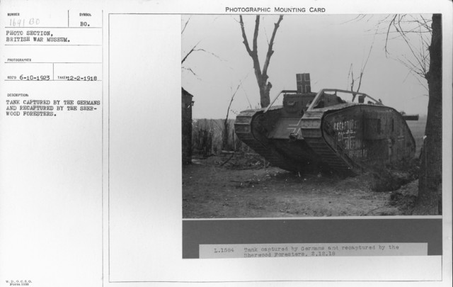 Tank captured by the Germans and recaptured by the Sherwood Foresters. 12-2-1918