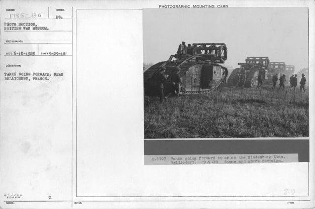 Tanks going forward, near Bellicourt, France