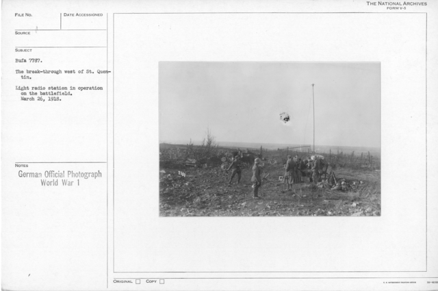 The break-through West of St. Quentin. Light radio station in opertation on the battlefield. March 26, 1918