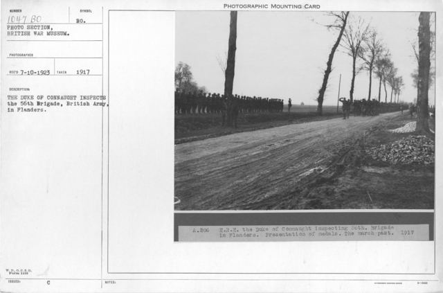The Duke of Connaught inspects the 56th Brigade, British Army, in Flanders