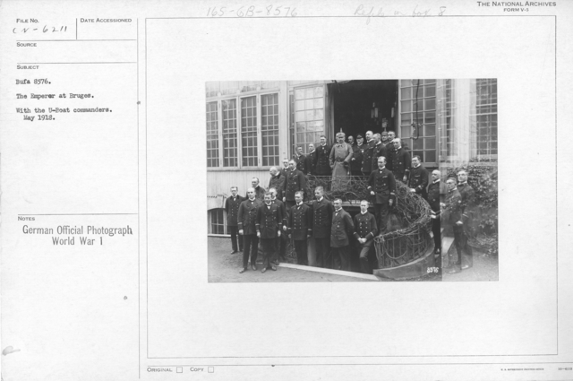The Emperor at Bruges. With the U-boat commanders. May 1918