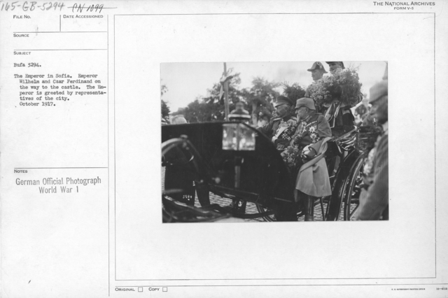 The Emperor in Sofia. Emperor Wilhelm and Czar Ferdinand on the way to the castle. The Emperor is greeted by representatives of the city. October 1917